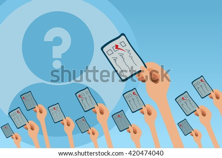 Voting concept with many hands up and holding ballot card. - stock vector