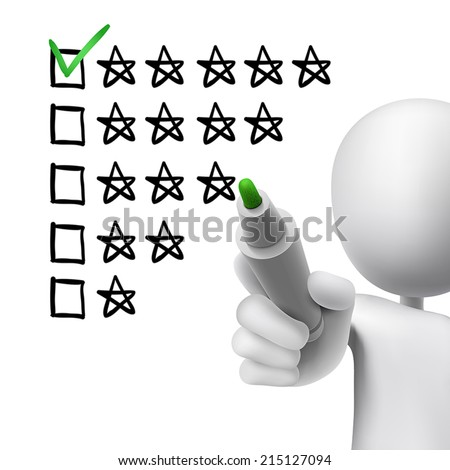 voting five stars by 3d man over white  - stock vector