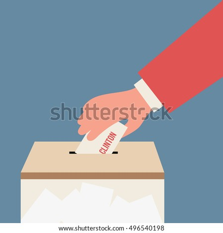 Voting for clinton, presidential election, illustration isolated in a blue background