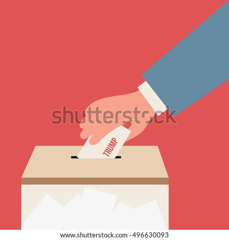 Voting for Trump, presidential election, illustration isolated in a red background