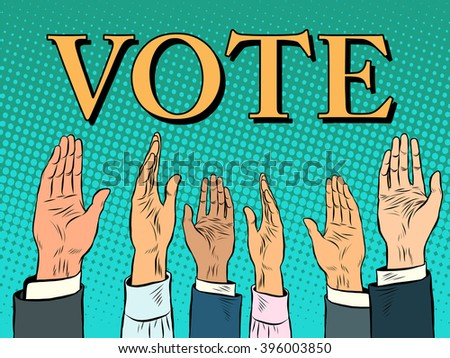 Voting hand picks up a voice of support - stock vector