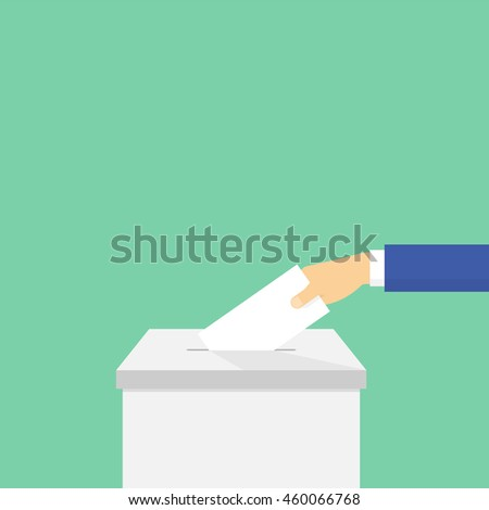 Voting. Hand puts the ballot in the ballot box. Vector - stock vector