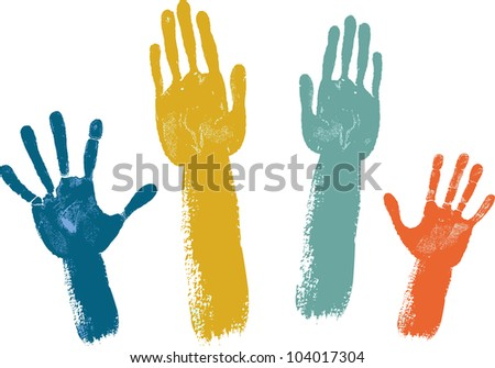 Voting hands isolated isolated on white background - stock vector