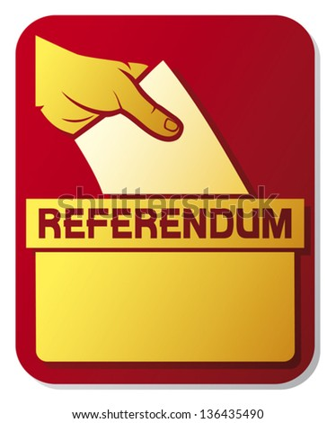 voting in the referendum - illustration of a ballot box  (hand putting a voting ballot in a slot of box, man's hand down the ballot in the ballot box, hand voting) - stock vector