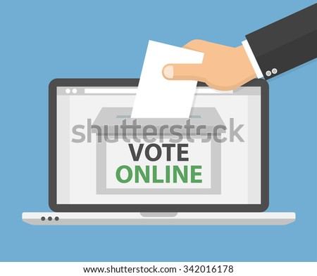 Voting online concept. Hand putting voting paper in the ballot box on a laptop screen. Flat style - stock vector