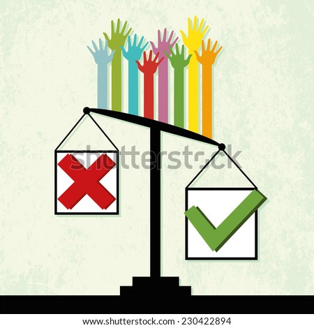 "Voting results on scales, people vote ""Yes"". Vector"