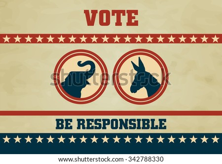 voting symbols vector design presidential election, vintage poster with voting symbols - stock vector