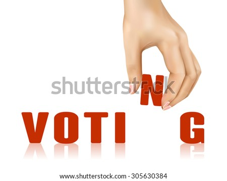 voting word taken away by hand over white background - stock vector
