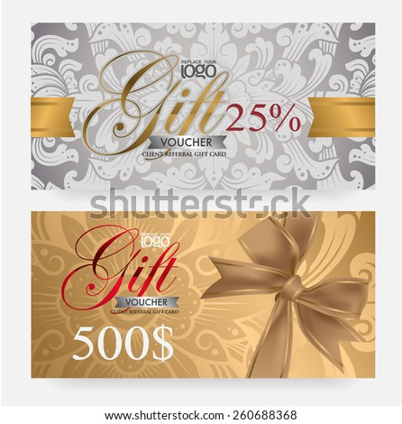 Voucher and gift card template with premium vintage pattern. vector - stock vector