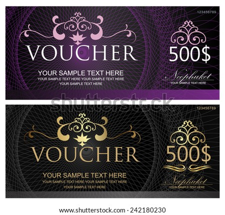 Voucher, Gift certificate, Coupon template with border, frame, bow ...