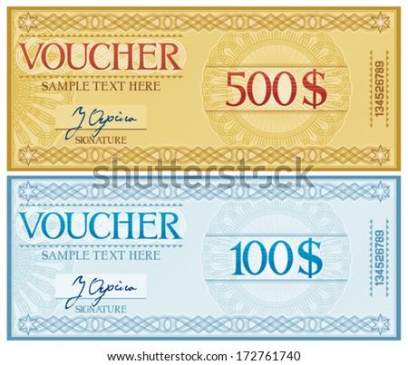 voucher design (voucher template) - stock vector