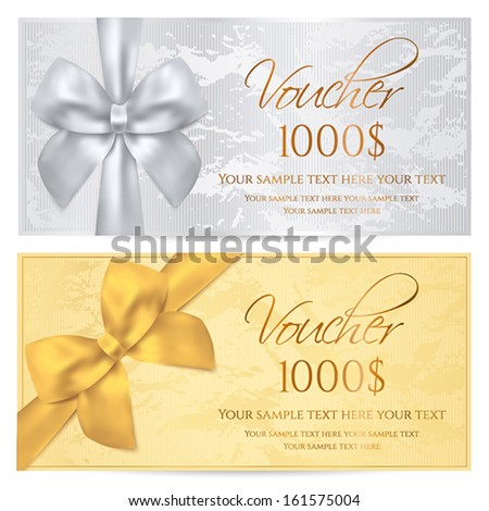 Voucher, Gift certificate, Coupon template. Old pattern with gold bow. Silver background design for invitation, ticket, banknote, money design, currency, check (cheque). Vector - stock vector