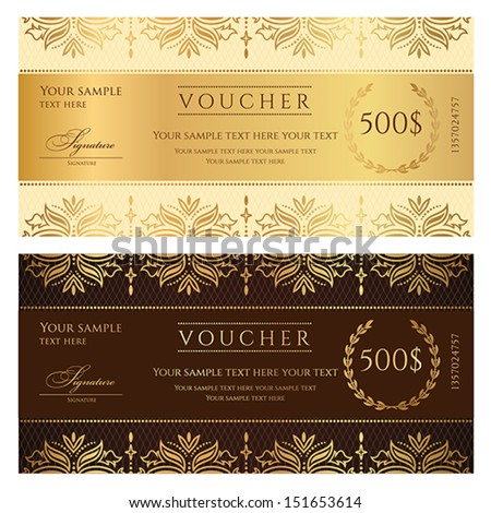 Voucher, Gift certificate, Coupon template with floral border. Background design for invitation, ticket, banknote, money design, currency, check (cheque). Vector in gold, dark brown colors - stock vector