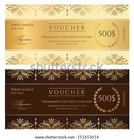 Gold Ticket Voucher Gift Certificate Coupon Vector 149049596 – Money Voucher Template