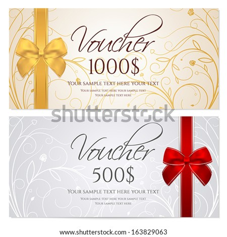 Voucher Gift Certificate Coupon Template Floral Stock Vector 2018