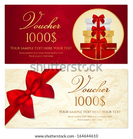 Gift Certificate Voucher Coupon Invitation Gift Vector – Template for a Voucher