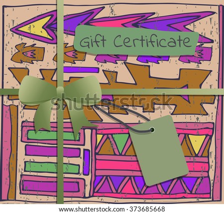 Voucher, Gift certificate, Coupon template with gift bow (ribbons, present). Holiday (celebration) background design for invitation, banner, ticket. Vector of bright hand drawn. Ethnic style