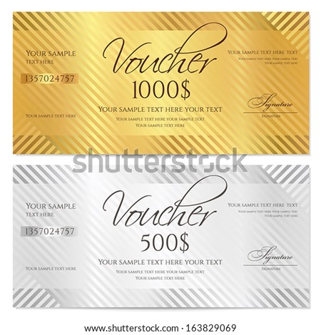 Charming Voucher, Gift Certificate, Coupon Template With Stripe Pattern. Gold And  Silver Background For  Money Coupon Template