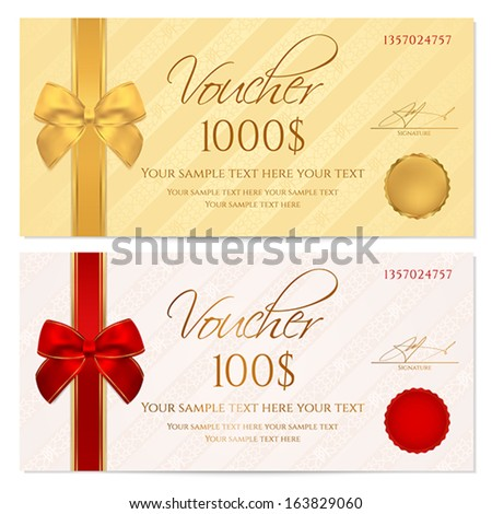 Voucher, Gift certificate, Coupon template with stripe pattern, red and gold bow. Background for invitation, money design, currency, note, check (cheque), ticket, reward. Vector - stock vector
