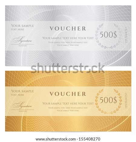 Voucher, Gift certificate, Coupon, ticket template. Guilloche pattern (watermark, spirograph). Background for banknote, money design, currency, bank note, check (cheque), ticket. Gold, silver vector - stock vector