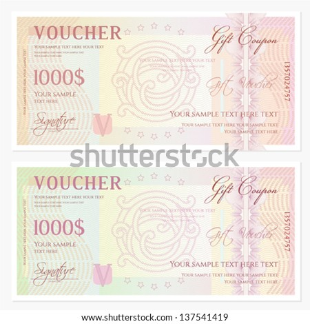 Voucher / Gift Certificate Template With Guilloche Pattern (watermarks) And  Border. Background Usable  Money Voucher Template