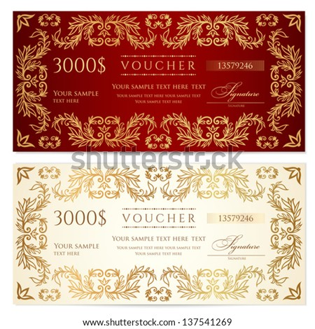 Voucher Gift Certificate Template Pattern Floral Vector – Money Coupon Template