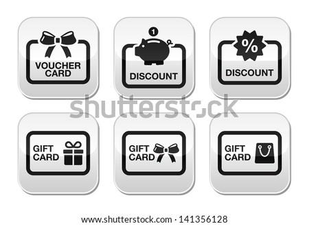 Voucher, gift, discount card vector buttons set  - stock vector