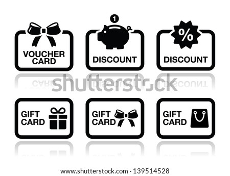 Voucher, gift, discount card vector icons set  - stock vector