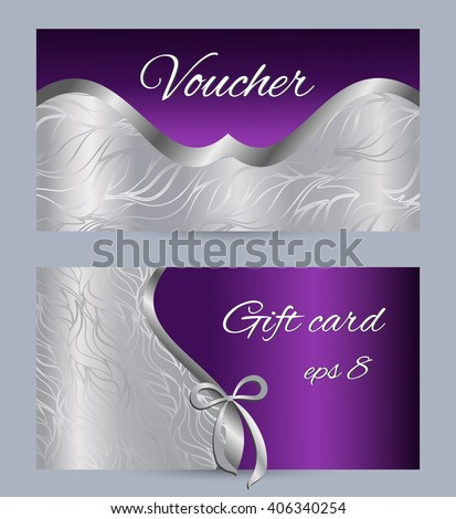 Voucher template. Design for voucher, gift card, coupon, certificate - stock vector