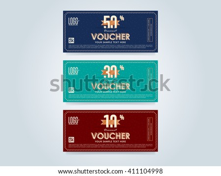 Voucher template vector isolated. Voucher layout. Gift discount voucher. Special offer coupon. Business voucher layout. Vintage voucher. Advertisement voucher. Voucher set. Market offer. Promo voucher