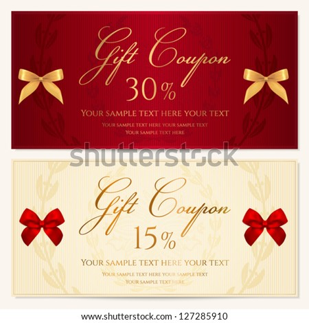 Voucher Gift Certificate Coupon Template Border Vector – Gift Coupon Template