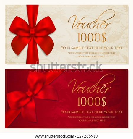Voucher Template Border Red Bow Ribbons Vector 127285919 – Coupon Voucher Template