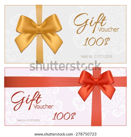 Voucher template with floral pattern, border, red and gold bow and ribbons. Design usable for gift coupon, voucher, invitation, certificate, diploma, ticket etc. Vector illustration
