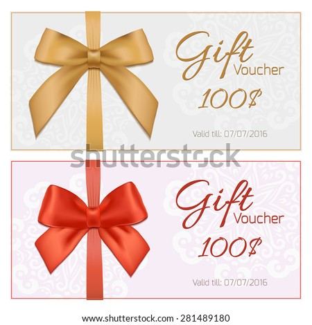 Voucher template with floral pattern, border, red and gold bow and ribbons. Design usable for gift coupon, voucher, invitation, certificate, diploma, ticket etc. Vector illustartion