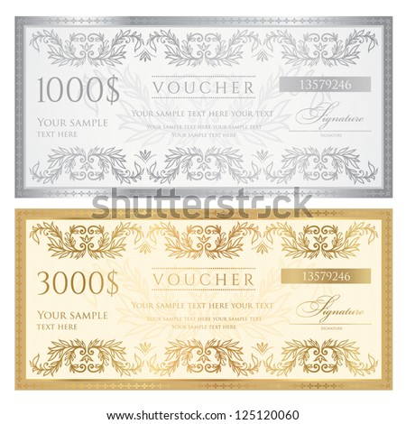 Voucher template with floral pattern, watermark and border . Design usable for gift voucher, coupon, diploma, certificate, ticket or different awards. Vector illustration in golden and silver colors - stock vector