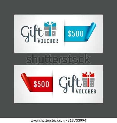 Voucher template with gift box and bow vintage design vector illustration - stock vector