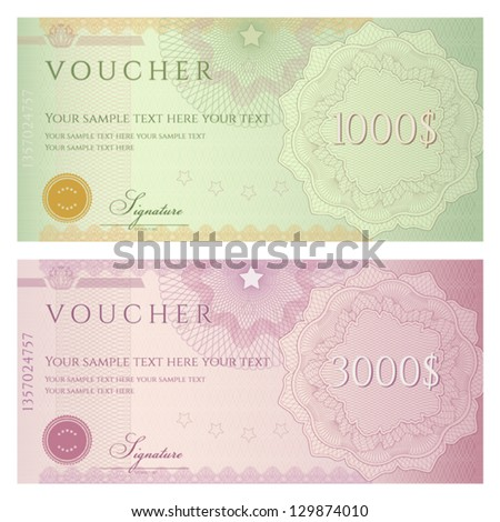 Voucher template with guilloche pattern (watermarks) and border. This background design usable for gift voucher, coupon, banknote, certificate, diploma, check, currency etc. Vector illustration - stock vector