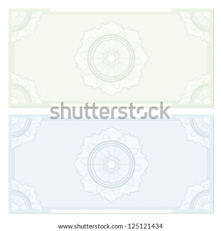 Voucher template with guilloche pattern (watermarks) and border. This design usable for gift voucher, coupon, diploma, certificate or different awards. Vector illustrations in green and blue colors - stock vector