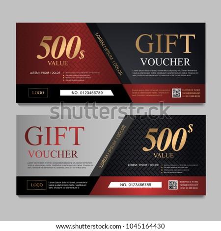 Voucher Template Red Gray Black Certificate Stock Vector (2018 ...