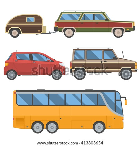 Voyage cars set. Travel automobile collection in retro colors. Summer auto trip transport. Vector autobus, hatchback, retro minivan and old station wagon with trailer hindcarriage.