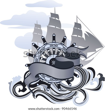 Voyage design element, banner, hand wheel and sailing ship - stock vector