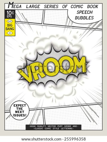 Vroom. Explosion in comic style with lettering and realistic puffs smoke. 3D vector pop art speech bubble - stock vector