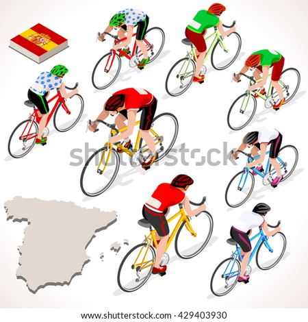Vuelta de Espana. Spain racing cyclist group riding bicycle path. Flat 3D isometric people set of cyclist vector icons. Isometric bicycle race Cycling icons. Winner Red Shirt. Winning Bicyclist - stock vector