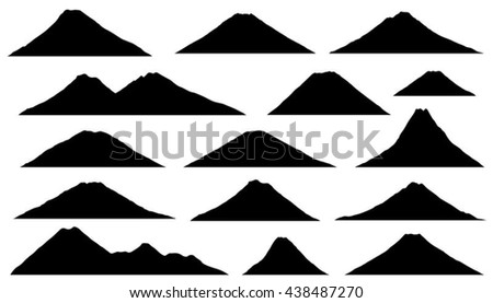 vulcano silhouettes on the white background - stock vector