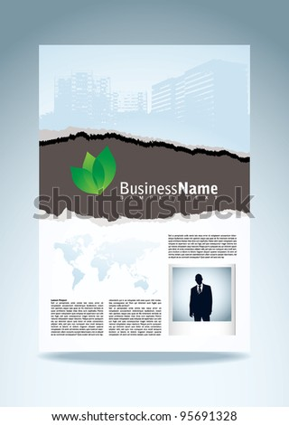 Vusiness paper with torn edge eco icon and instant photograph - stock vector