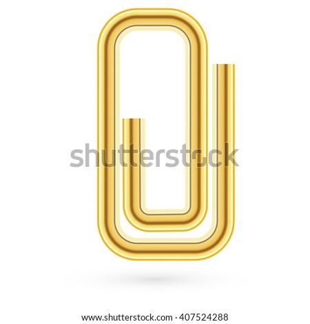 Vvector Paper clip on paper. Realistic - stock vector