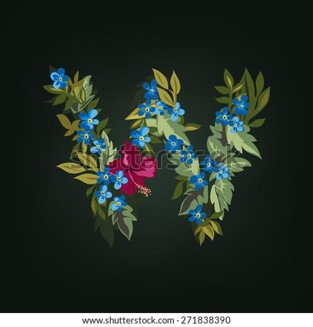 W letter. Flower  alphabet. Colorful font. Lowercase.  Vector illustration. - stock vector