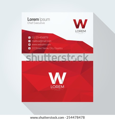 W Letter Logo Abstract Polygonal Background Business card template - stock vector
