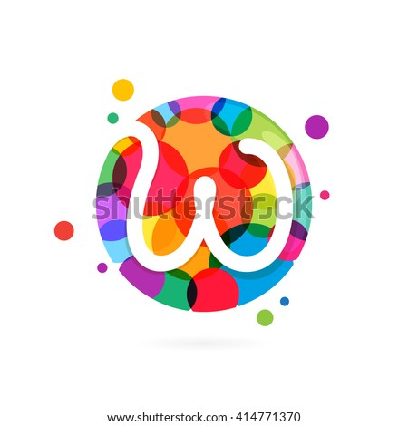 W letter logo in circle with rainbow dots. Font style, vector design template elements for your application or corporate identity. - stock vector