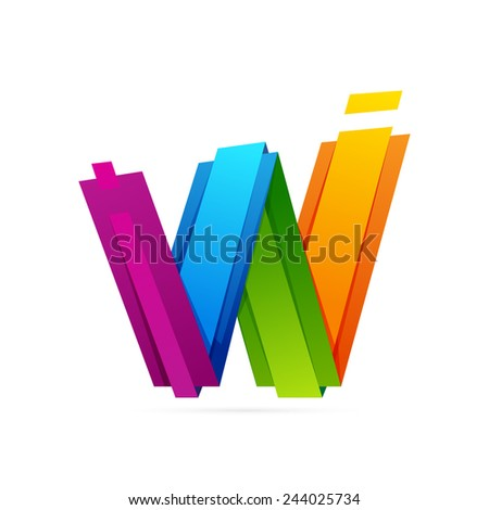 W letter logo, volume icon - stock vector